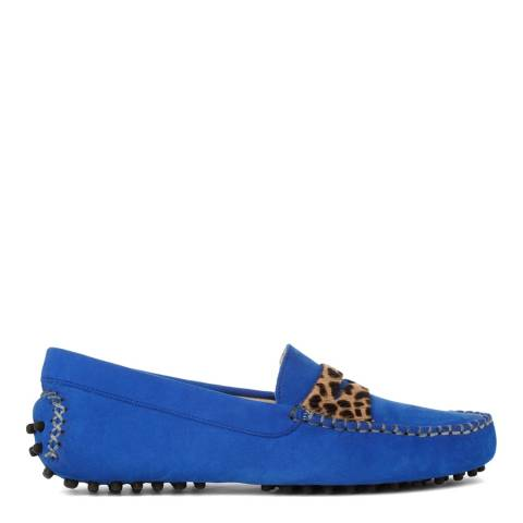 French Sole Colbolt Blue and Leopard Print Nubuck Driving Shoes