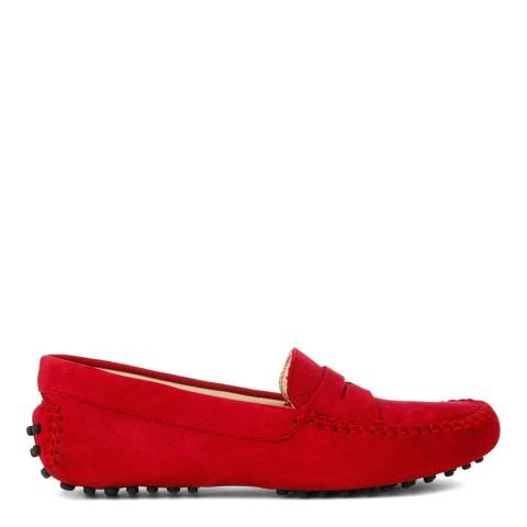 French Sole Red Nubuck Driving Shoes