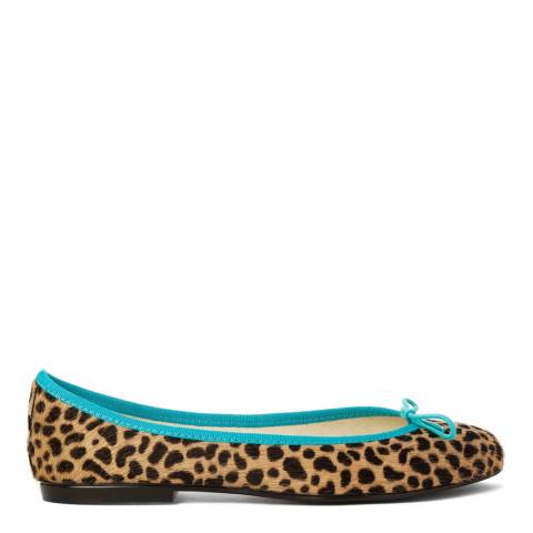 French Sole Snow Leopard Pony HairTeal Trim India Ballet Flats