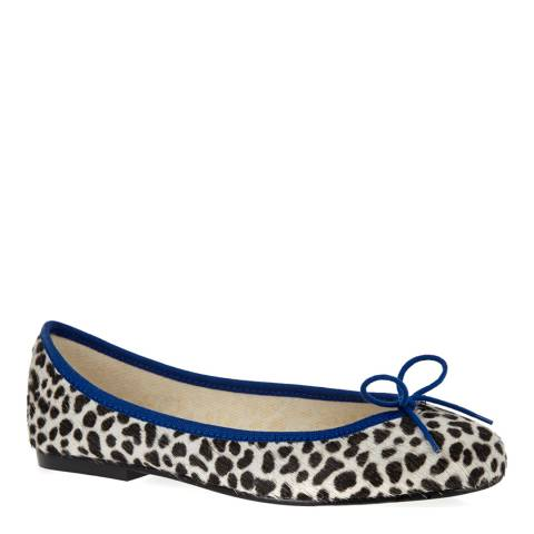 French Sole Snow Leopard Pony Hair Royal Blue Trim India Ballet Flats