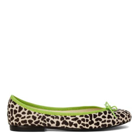 French Sole Snow Leopard Pony Hair Lime Green Trim India Ballet Flats