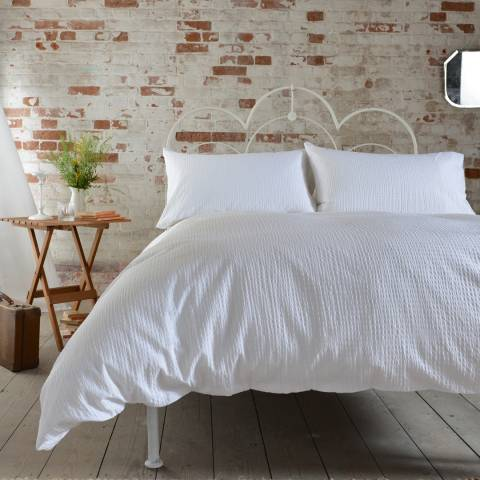 Deyongs White Seersucker Double Duvet Cover Set