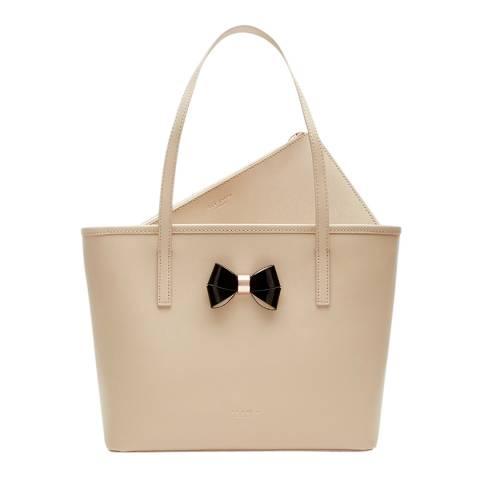 8dd8ec0803f0 Nude Leather Ritaa bow Detail Crosshatch Small Shopper Bag - BrandAlley
