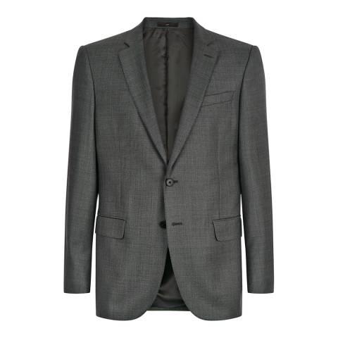 Jaeger Grey Wool Modern Structured Sharkskin Suit Jacket