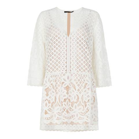 BCBG Ivory Laurice Floral Lace Tunic Dress