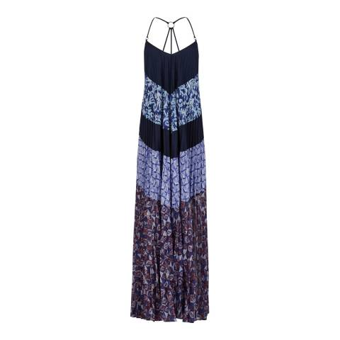 BCBG Dark Navy Combo Woven Cocktail Dress