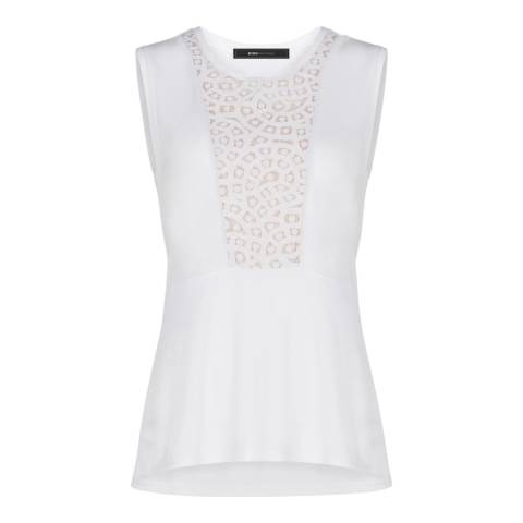 BCBG White Kensey Lace Blocked Top