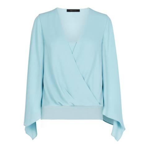BCBG Blue Breeze Nickclette Handkerchief Sleeve Wrap Top