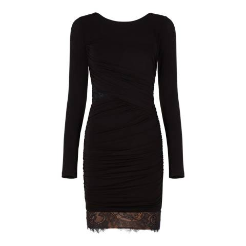 BCBG Black Clio Lace Blocked Ruched Dress