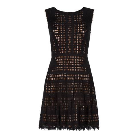 BCBG Black Katherina Embroidered Applique Grid Lace Dress