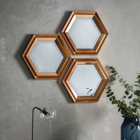 Gallery Set of 3 Copper Fawkner Wall Mirrors 36x41cm