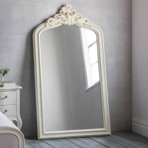 Gallery Cream Josephine Crested Leaner Mirror 172 x 97cm