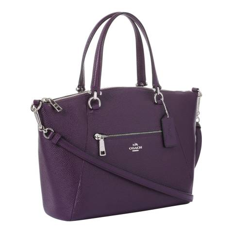 Coach Dark Purple Polished Pebbled Leather Prairie Satchel Bag