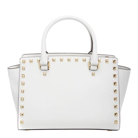 c5145cbff190 Michael Kors White Leather Selma Studded Medium Satchel. prev