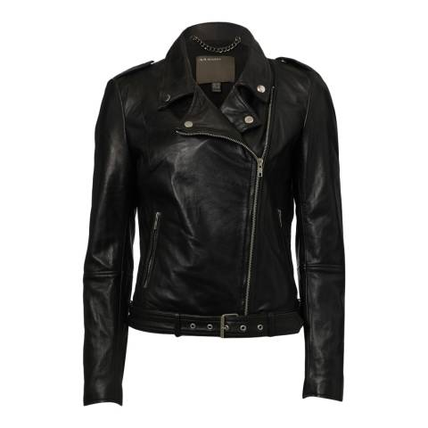 Muubaa Black Leather Argal Biker Jacket