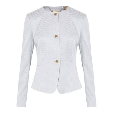 Ted Baker Pale Blue Eiraa Peplum Textured Suit Jacket