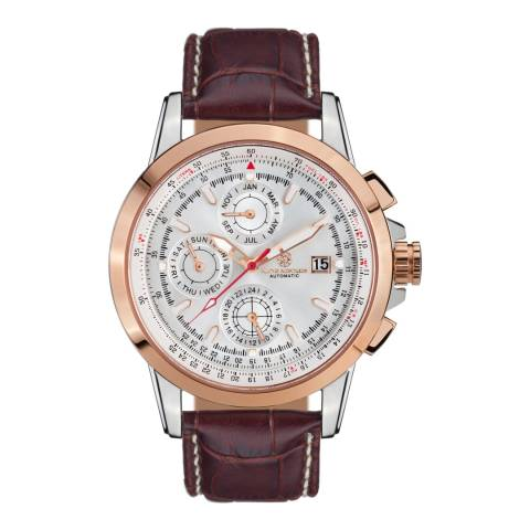 Mathis Montabon Men's Rose Gold and Brown Leather Watch