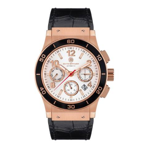 Mathis Montabon Men's Rose Gold and Black Leather Watch