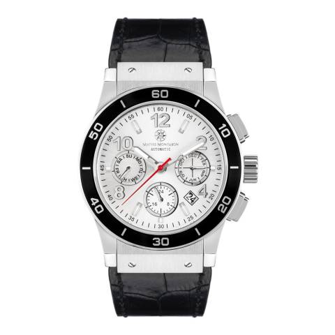 Mathis Montabon Men's Silver and Black Leather Watch