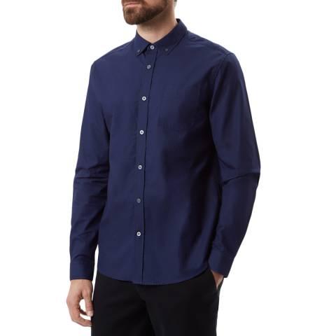 Lyle & Scott Navy Cotton Pin Dot Textured Shirt