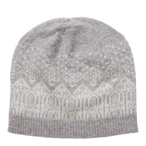 Pure Collection Grey Cashmere Fairisle Hat