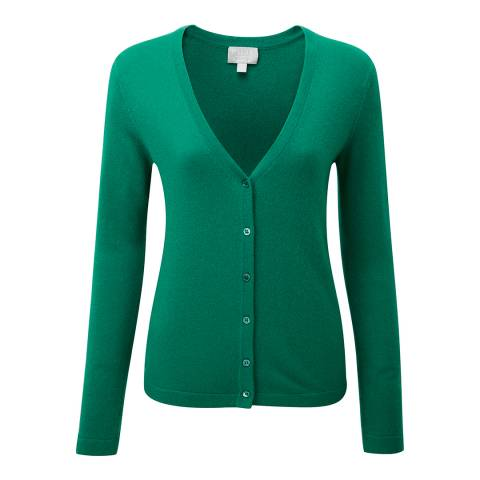 Pure Collection Green Cashmere V Neck Cardigan