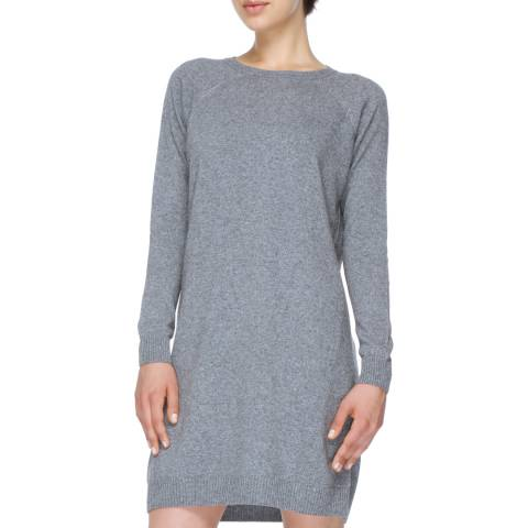 Love Cashmere Grey Cashmere Blend Long Sleeve Dress