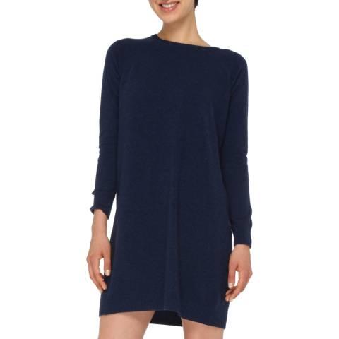 Love Cashmere Navy Blue Cashmere Blend Long Sleeve Dress