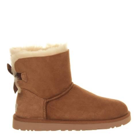UGG Womens Chestnut Nubuck Bailey Bow Mini Boots