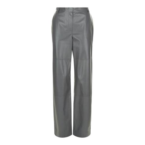 Jaeger Grey Leather Low Rise Wide Leg Trousers