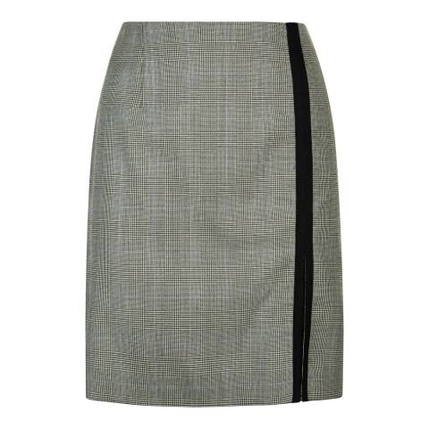 Jaeger Grey Wool Prince Of Wales Check A Line Skirt