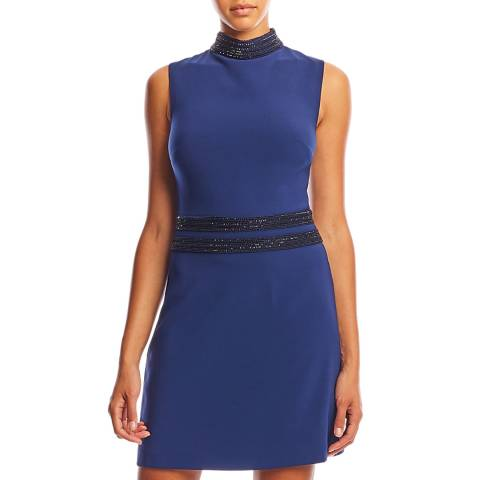 Nicole Miller Navy Techy Crepe Beaded Trim Dress