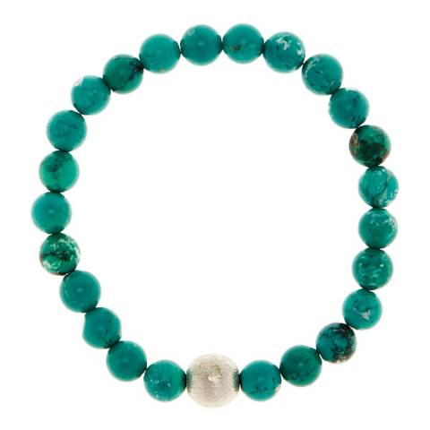 Alexa by Liv Oliver Brushed Sterling Silver Plated Turquoise Bracelet