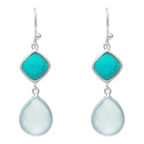 Alexa by Liv Oliver Silver Chalcedony and Turquoise Earrings