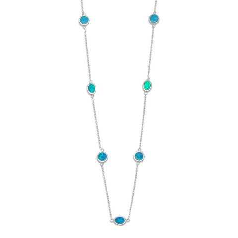 Alexa by Liv Oliver Silver Opal Station Necklace