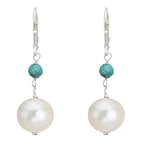 Alexa by Liv Oliver Silver Turquoise and Pearl Drop Earrings