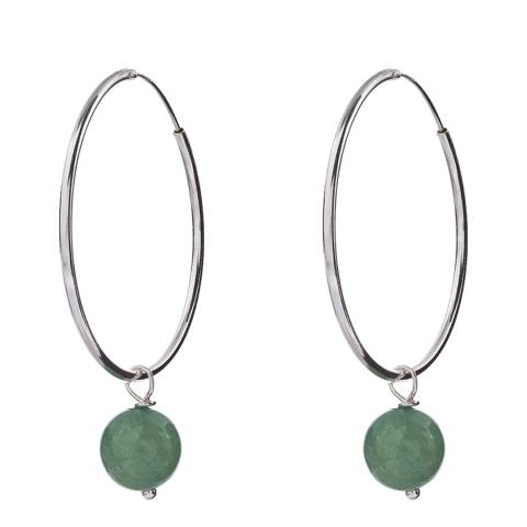 Alexa by Liv Oliver Sterling Silver And Aventurine Drop Hoop Earrings