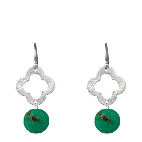 Alexa by Liv Oliver Sterling Silver Clover And Sea Green Gemstone Drop Earrings