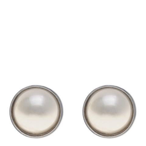 Alexa by Liv Oliver Silver and Pearl Post Earrings