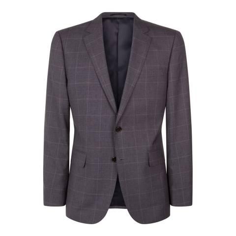 Jaeger Grey Wool Regular Windowpane Grey Check Suit Jacket