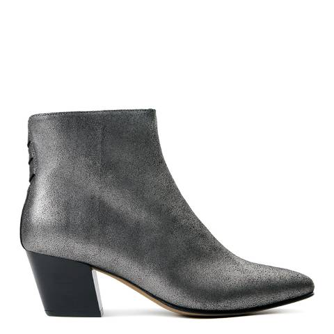 Hudson Silver Leather Rosetta Ankle Boots