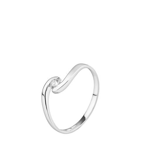 Only You Silver Diamond Solitaire Ring 0.08cts