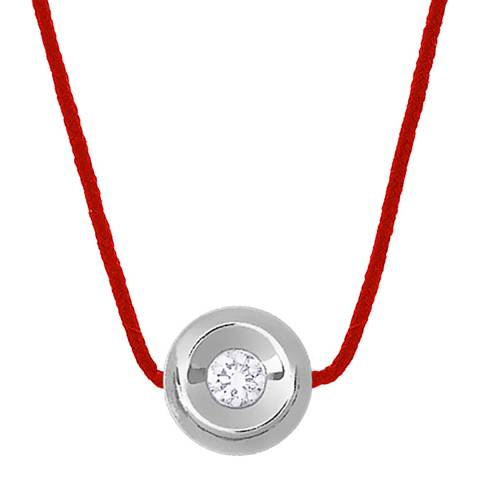 Diamant & Argent Red Weaved Diamond Necklace 0.05cts