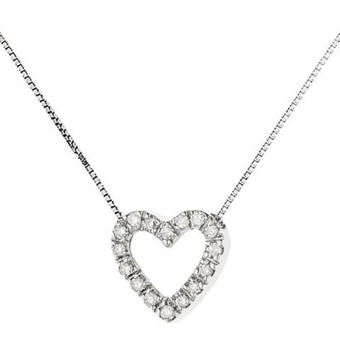 Only You White Gold Diamond Heart Necklace 0.07cts