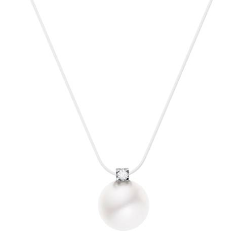 Diamant & Argent White Freshwater Pearl Necklace 0.03cts