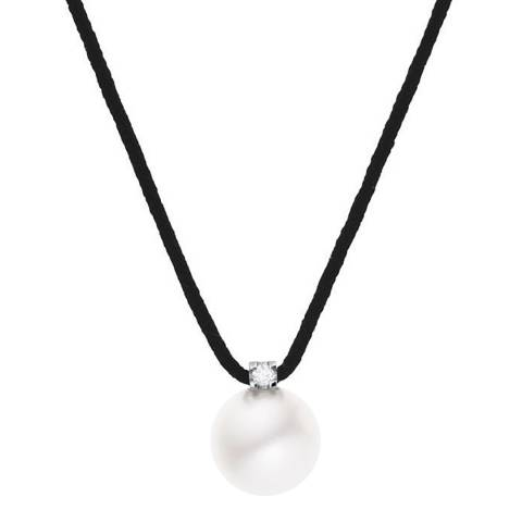 Diamant & Argent Black Freshwater Pearl Necklace 0.03cts