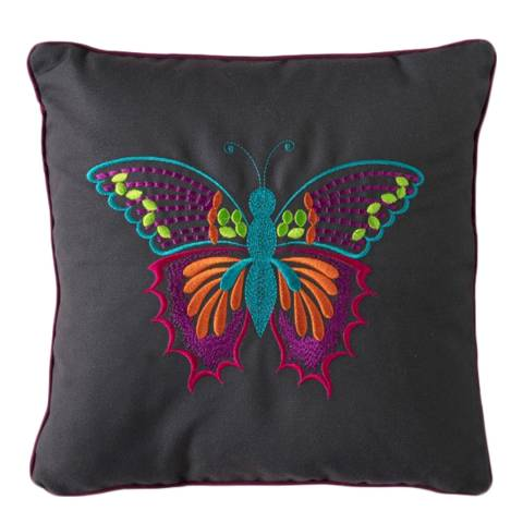 Gallery Embroidered Tropical Butterfly Cushion 30 x 30cm