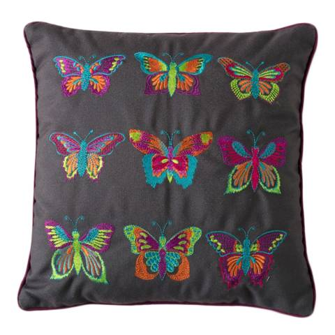 Gallery Embroidered Tropical Butterflies Cushion, 30x30cm