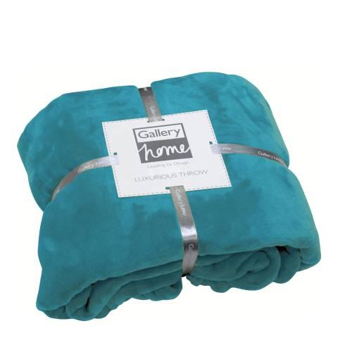 Gallery Turquoise Flannel Fleece Throw, 140x180cm