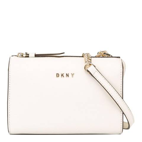 Cream Leather Bryant Chain Cross Body Bag by Dkny